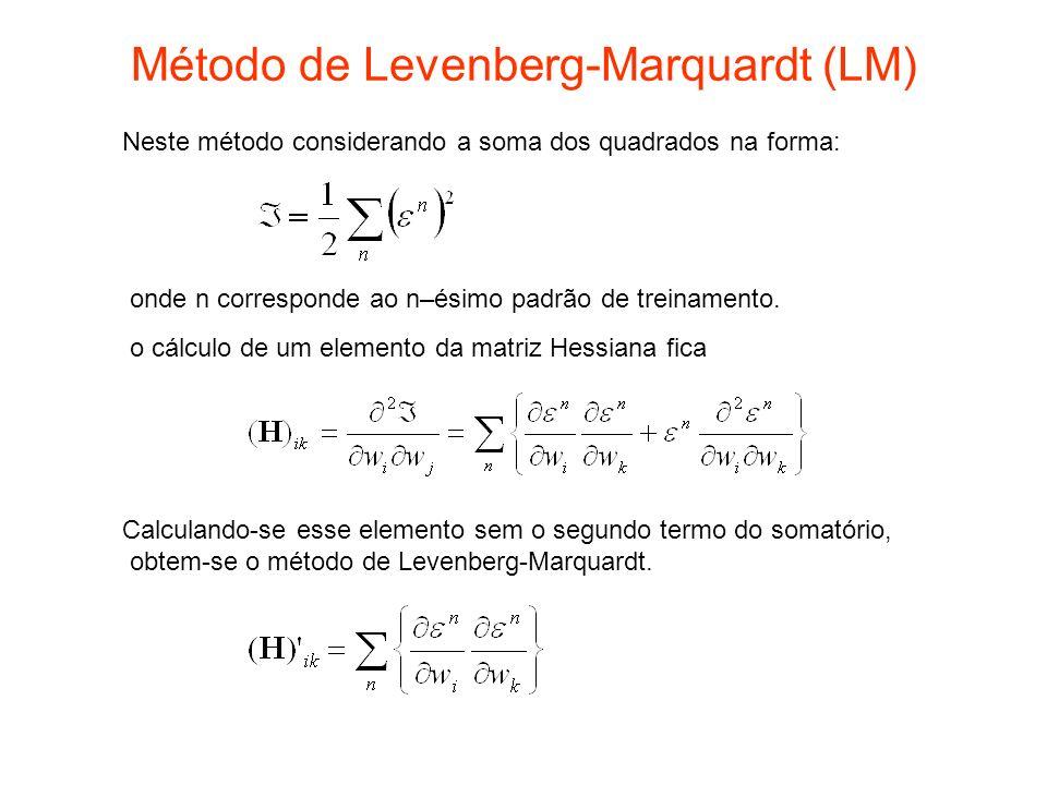 Método de Levenberg-Marquardt (LM) Neste método considerando a soma dos quadrados na forma: o cálculo de um elemento da matriz Hessiana fica Calculand
