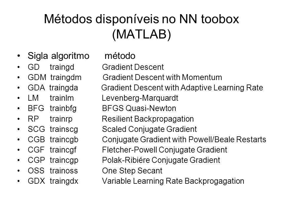 Métodos disponíveis no NN toobox (MATLAB) Sigla algoritmo método GD traingdGradient Descent GDM traingdm Gradient Descent with Momentum GDA traingda G