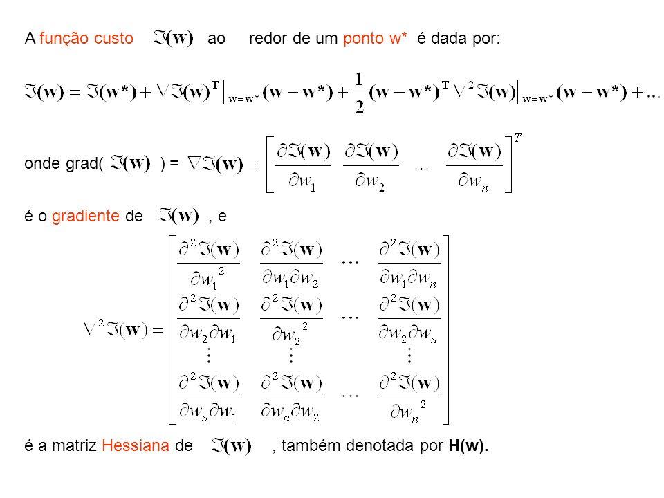 A função custo ao redor de um ponto w* é dada por: onde grad( ) = é o gradiente de, e é a matriz Hessiana de, também denotada por H(w).