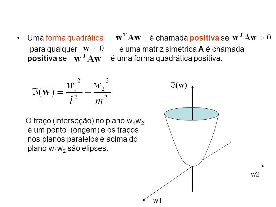 Uma forma quadrática é chamada positiva se para qualquer e uma matriz simétrica A é chamada positiva se é uma forma quadrática positiva. w1 w2 O traço