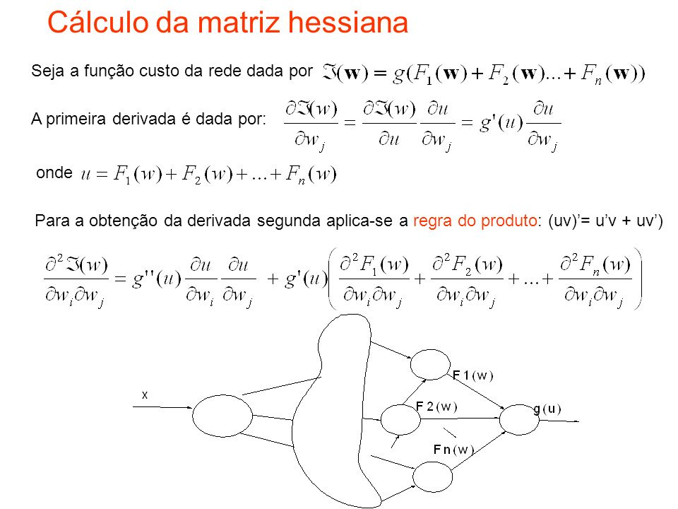 Cálculo da matriz hessiana Seja a função custo da rede dada por A primeira derivada é dada por: onde Para a obtenção da derivada segunda aplica-se a r