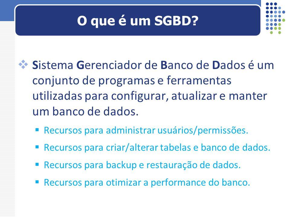 Sistema Gerenciador de Banco de Dados é um conjunto de programas e ferramentas utilizadas para configurar, atualizar e manter um banco de dados. Recur
