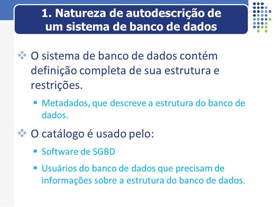 O sistema de banco de dados contém definição completa de sua estrutura e restrições. Metadados, que descreve a estrutura do banco de dados. O catálogo