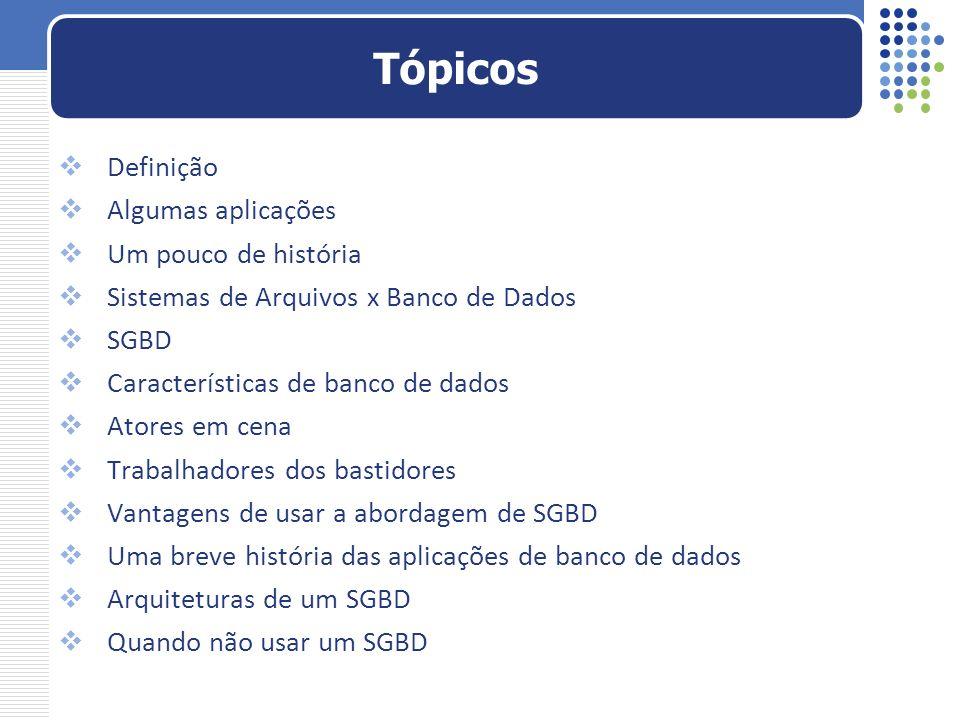 Definição Algumas aplicações Um pouco de história Sistemas de Arquivos x Banco de Dados SGBD Características de banco de dados Atores em cena Trabalha