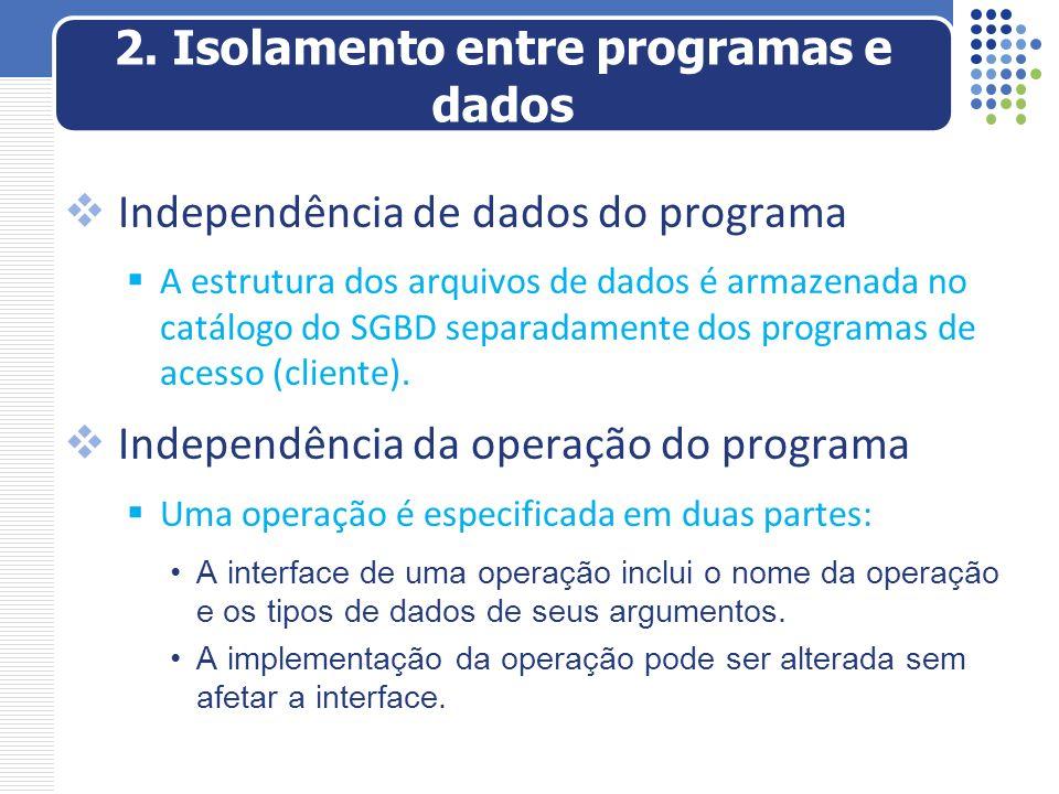 Independência de dados do programa A estrutura dos arquivos de dados é armazenada no catálogo do SGBD separadamente dos programas de acesso (cliente).