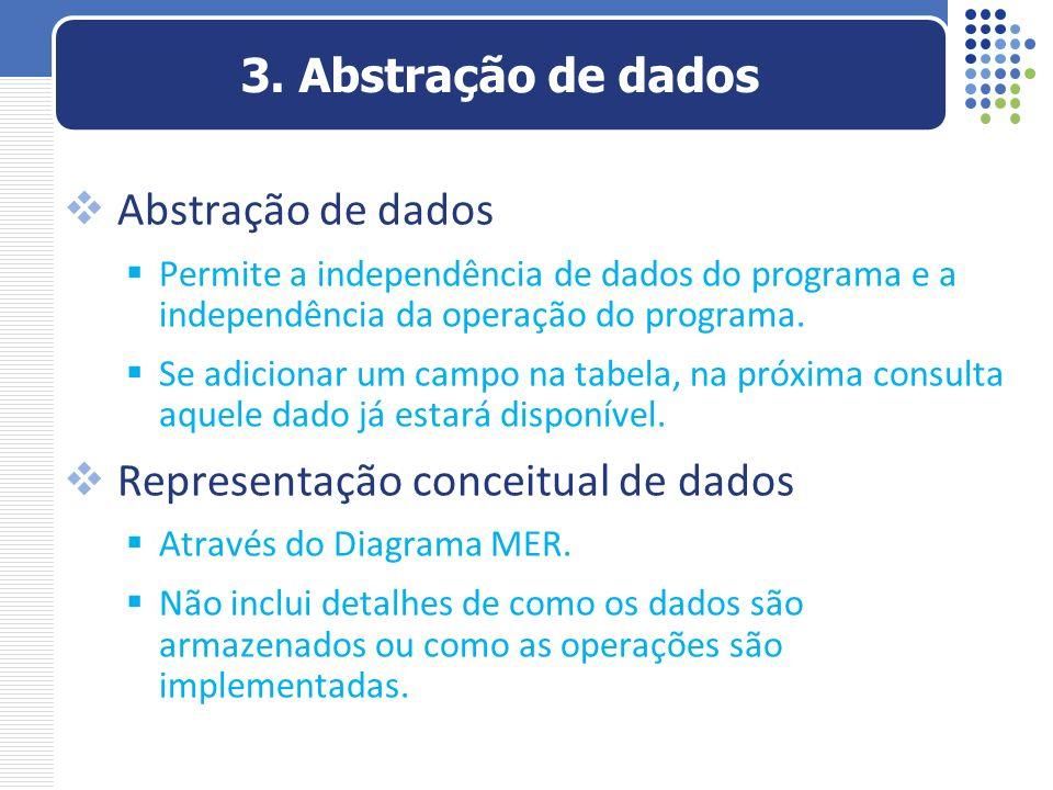 Abstração de dados Permite a independência de dados do programa e a independência da operação do programa. Se adicionar um campo na tabela, na próxima