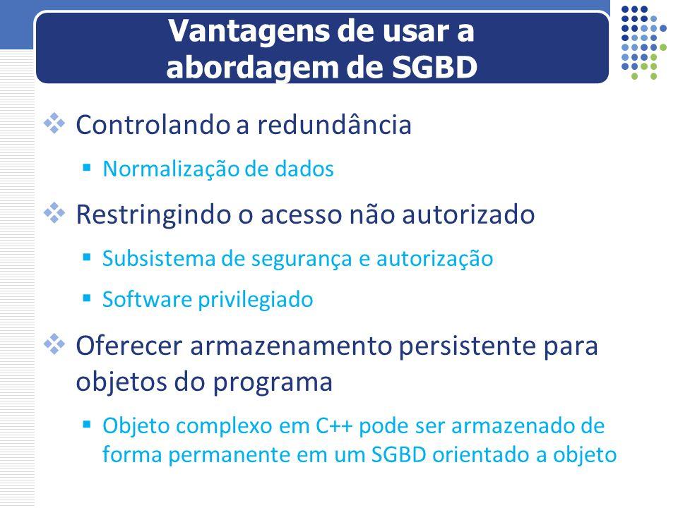 Controlando a redundância Normalização de dados Restringindo o acesso não autorizado Subsistema de segurança e autorização Software privilegiado Ofere