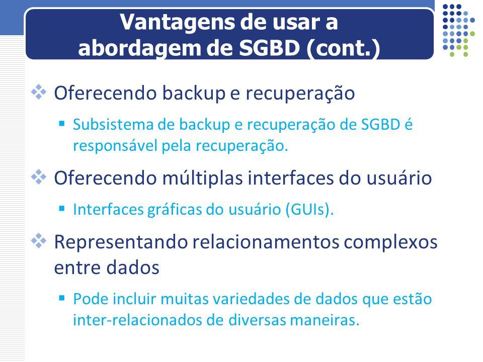 Oferecendo backup e recuperação Subsistema de backup e recuperação de SGBD é responsável pela recuperação. Oferecendo múltiplas interfaces do usuário