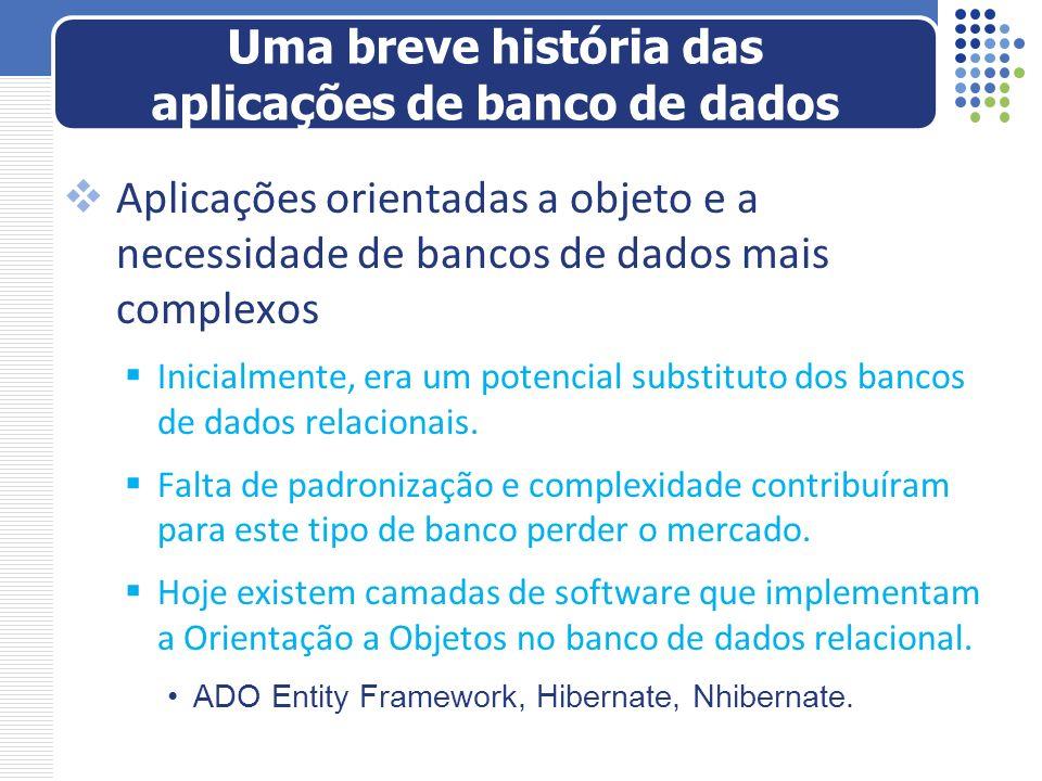 Aplicações orientadas a objeto e a necessidade de bancos de dados mais complexos Inicialmente, era um potencial substituto dos bancos de dados relacio