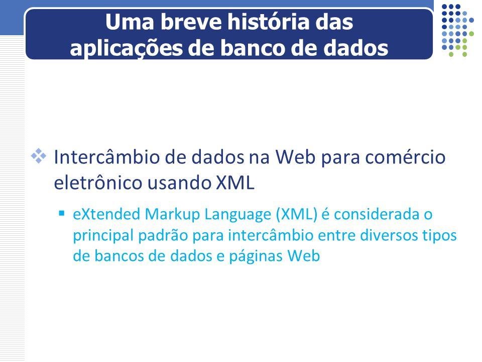 Intercâmbio de dados na Web para comércio eletrônico usando XML eXtended Markup Language (XML) é considerada o principal padrão para intercâmbio entre