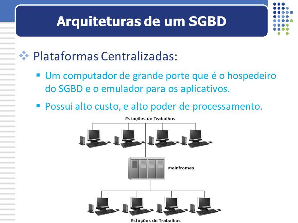 Plataformas Centralizadas: Um computador de grande porte que é o hospedeiro do SGBD e o emulador para os aplicativos. Possui alto custo, e alto poder