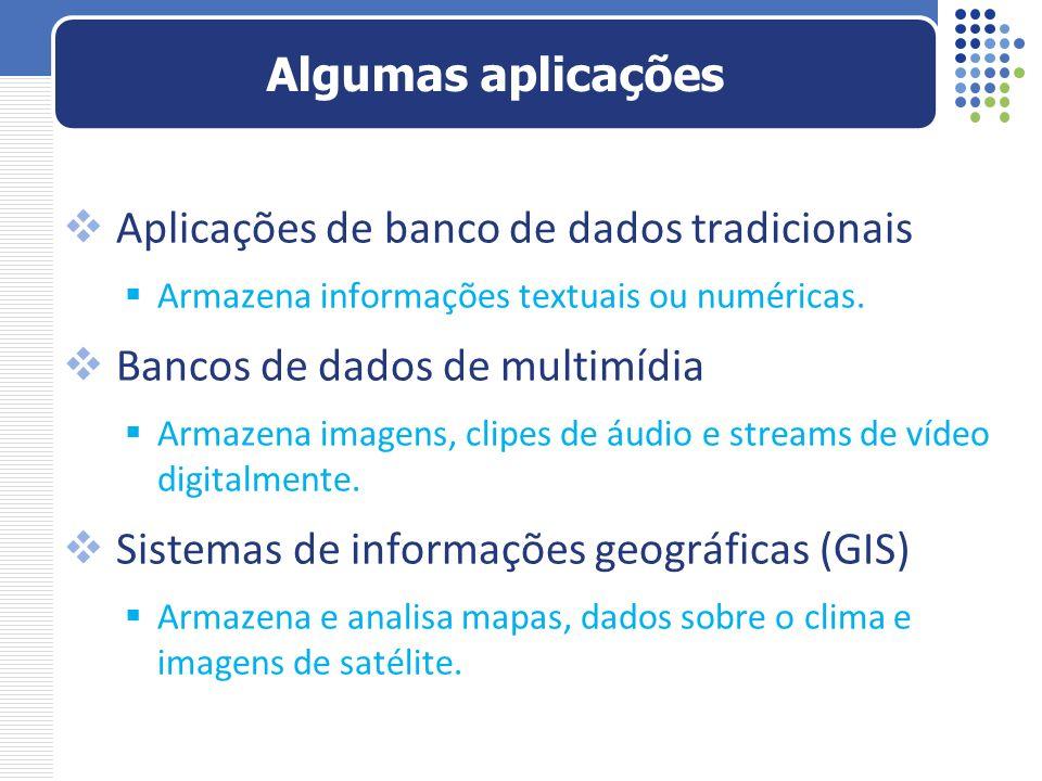Aplicações de banco de dados tradicionais Armazena informações textuais ou numéricas. Bancos de dados de multimídia Armazena imagens, clipes de áudio