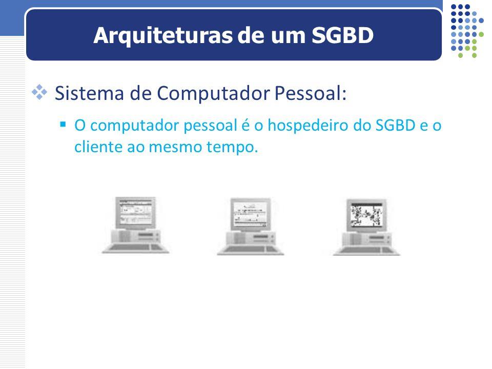 Sistema de Computador Pessoal: O computador pessoal é o hospedeiro do SGBD e o cliente ao mesmo tempo. Arquiteturas de um SGBD