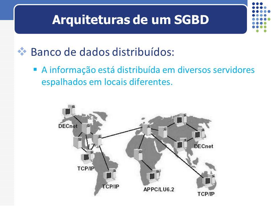 Banco de dados distribuídos: A informação está distribuída em diversos servidores espalhados em locais diferentes. Arquiteturas de um SGBD