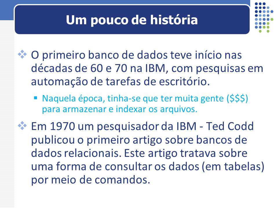 O primeiro banco de dados teve início nas décadas de 60 e 70 na IBM, com pesquisas em automação de tarefas de escritório. Naquela época, tinha-se que