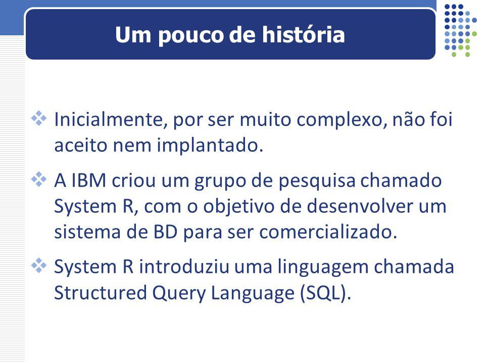 Inicialmente, por ser muito complexo, não foi aceito nem implantado. A IBM criou um grupo de pesquisa chamado System R, com o objetivo de desenvolver