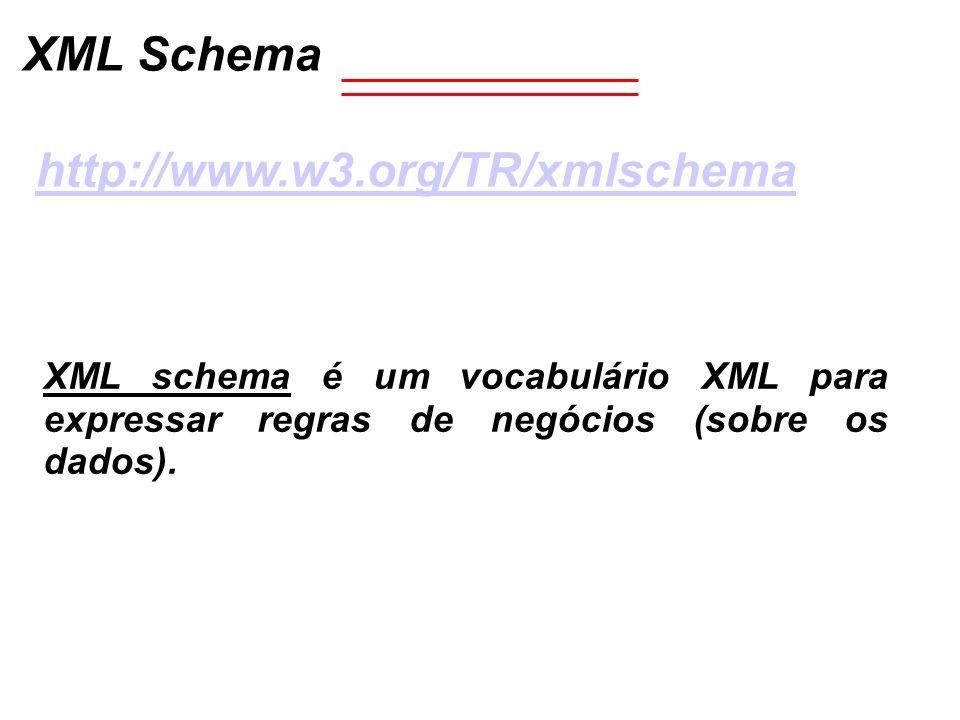 XML Schema http://www.w3.org/TR/xmlschema XML schema é um vocabulário XML para expressar regras de negócios (sobre os dados).