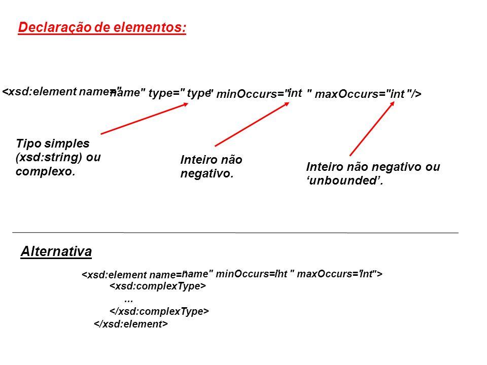 <xsd:element name= name type= type minOccurs= int maxOccurs= int /> Declaração de elementos: Tipo simples (xsd:string) ou complexo.