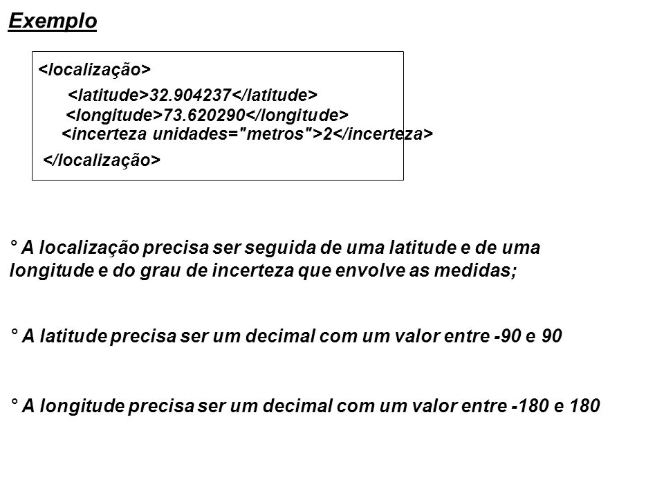 Exemplo 32.904237 73.620290 2 ° A localização precisa ser seguida de uma latitude e de uma longitude e do grau de incerteza que envolve as medidas; °