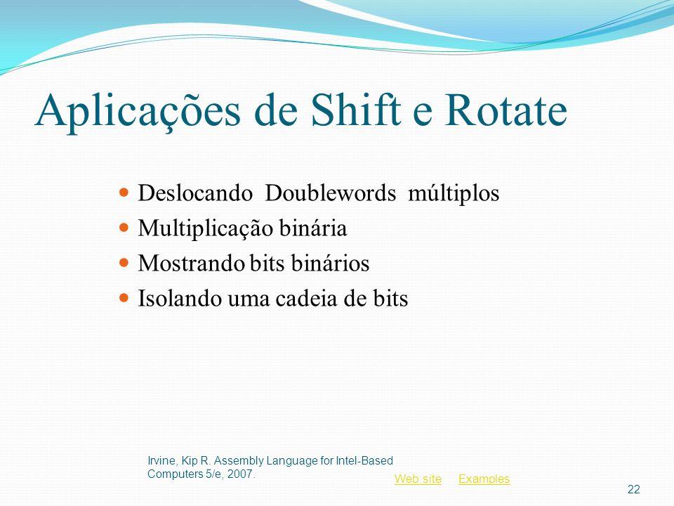 Web siteWeb site ExamplesExamples Aplicações de Shift e Rotate Deslocando Doublewords múltiplos Multiplicação binária Mostrando bits binários Isolando