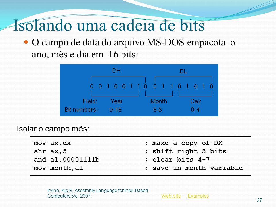 Web siteWeb site ExamplesExamples Isolando uma cadeia de bits O campo de data do arquivo MS-DOS empacota o ano, mês e dia em 16 bits: Irvine, Kip R. A