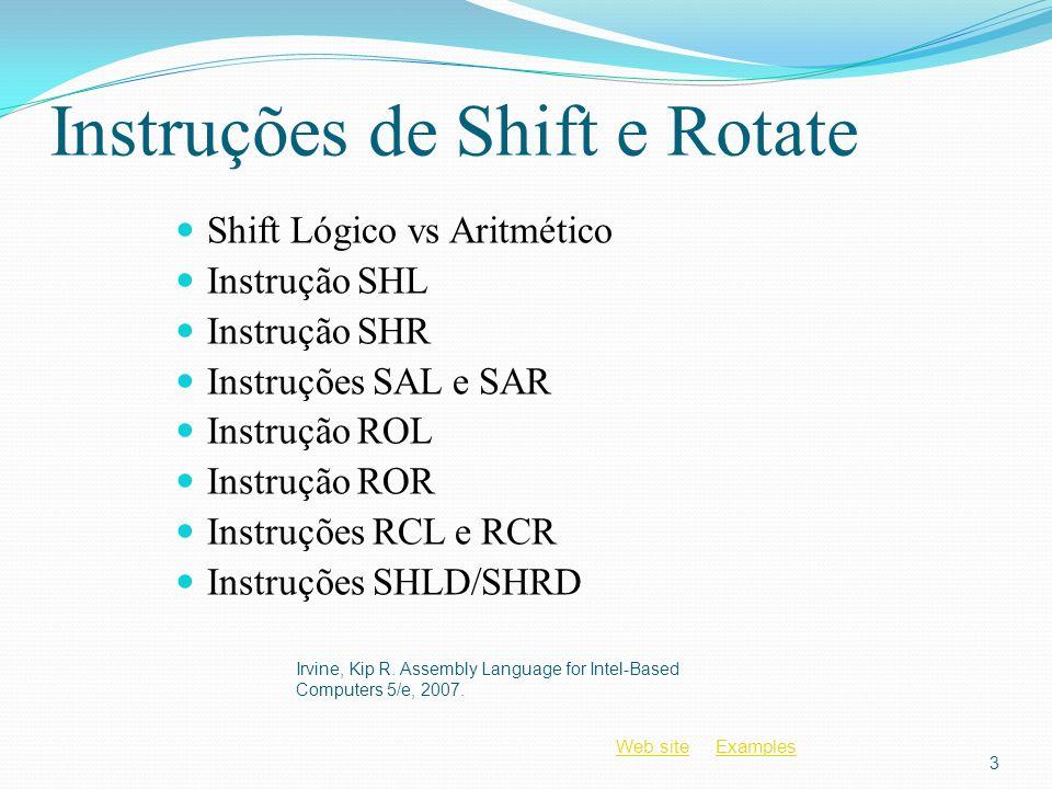 Web siteWeb site ExamplesExamples Instruções de Shift e Rotate Shift Lógico vs Aritmético Instrução SHL Instrução SHR Instruções SAL e SAR Instrução R