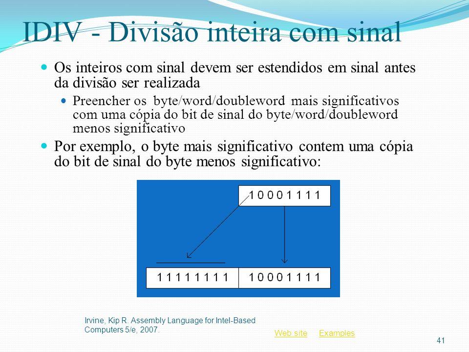Web siteWeb site ExamplesExamples IDIV - Divisão inteira com sinal Os inteiros com sinal devem ser estendidos em sinal antes da divisão ser realizada