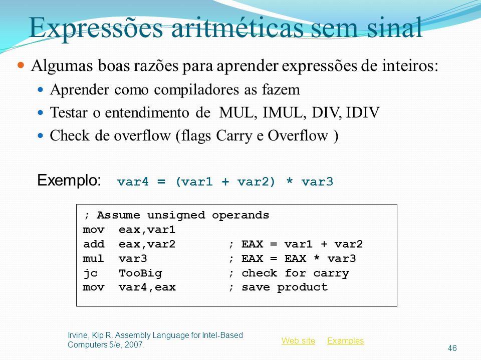Web siteWeb site ExamplesExamples Expressões aritméticas sem sinal Algumas boas razões para aprender expressões de inteiros: Aprender como compiladore