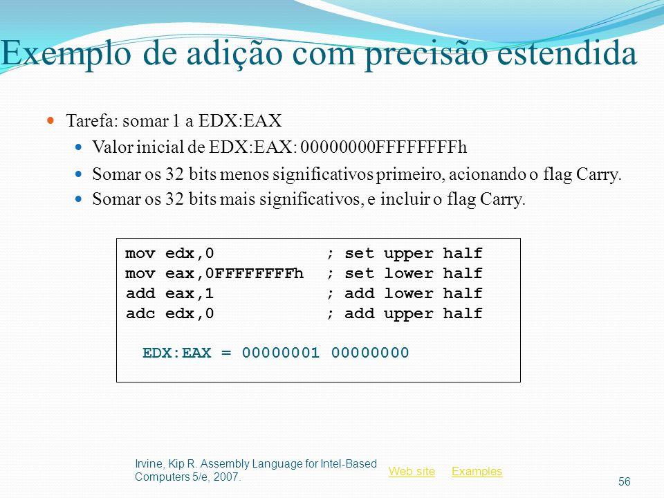Web siteWeb site ExamplesExamples Exemplo de adição com precisão estendida Tarefa: somar 1 a EDX:EAX Valor inicial de EDX:EAX: 00000000FFFFFFFFh Somar