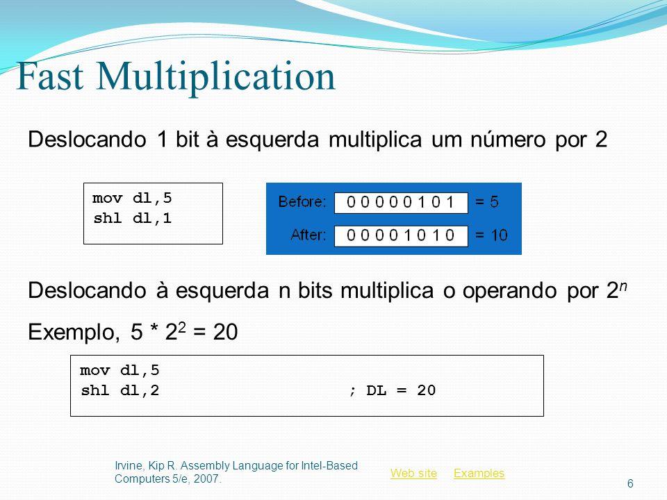 Web siteWeb site ExamplesExamples Instrução SHR A instrução SHR (shift right) faz o deslocamento lógico à direita do operando destino.
