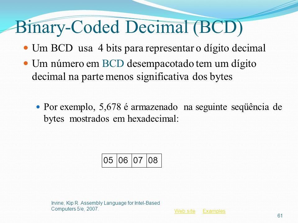 Web siteWeb site ExamplesExamples Binary-Coded Decimal (BCD) Um BCD usa 4 bits para representar o dígito decimal Um número em BCD desempacotado tem um