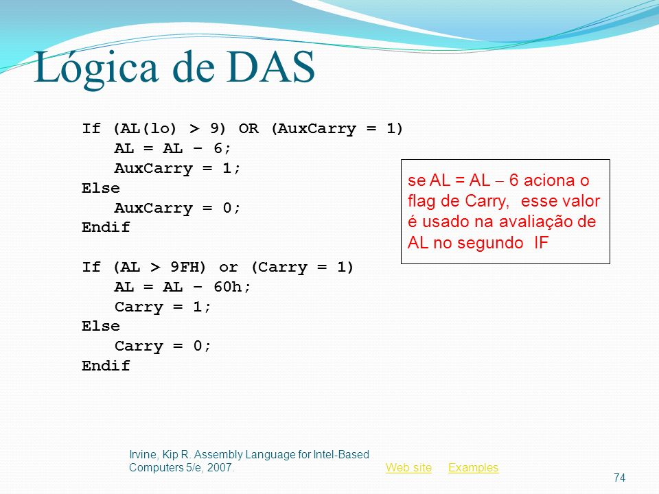 Web siteWeb site ExamplesExamples Lógica de DAS Irvine, Kip R. Assembly Language for Intel-Based Computers 5/e, 2007. 74 If (AL(lo) > 9) OR (AuxCarry