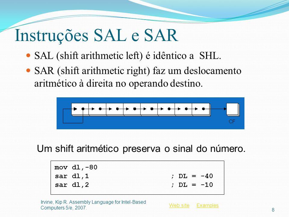 Web siteWeb site ExamplesExamples Instruções SAL e SAR SAL (shift arithmetic left) é idêntico a SHL. SAR (shift arithmetic right) faz um deslocamento