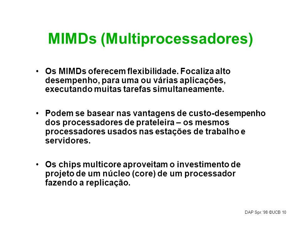 DAP Spr.98 ©UCB 10 MIMDs (Multiprocessadores) Os MIMDs oferecem flexibilidade. Focaliza alto desempenho, para uma ou várias aplicações, executando mui