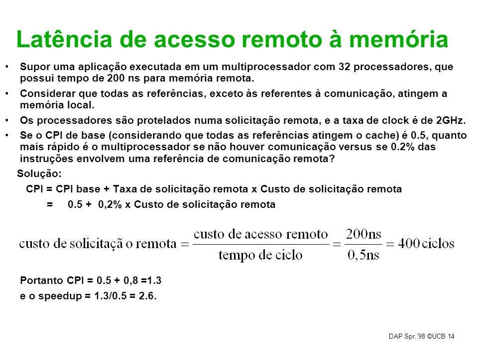 DAP Spr.98 ©UCB 14 Latência de acesso remoto à memória Supor uma aplicação executada em um multiprocessador com 32 processadores, que possui tempo de