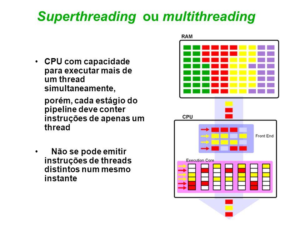 DAP Spr.98 ©UCB 18 Superthreading ou multithreading CPU com capacidade para executar mais de um thread simultaneamente, porém, cada estágio do pipelin