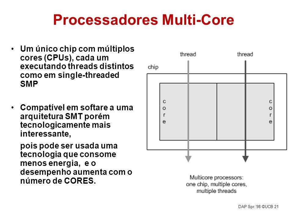 DAP Spr.98 ©UCB 21 Processadores Multi-Core Um único chip com múltiplos cores (CPUs), cada um executando threads distintos como em single-threaded SMP