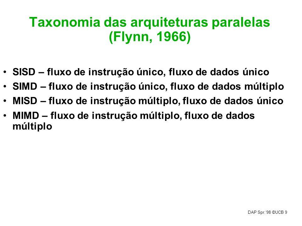 DAP Spr.98 ©UCB 9 Taxonomia das arquiteturas paralelas (Flynn, 1966) SISD – fluxo de instrução único, fluxo de dados único SIMD – fluxo de instrução ú