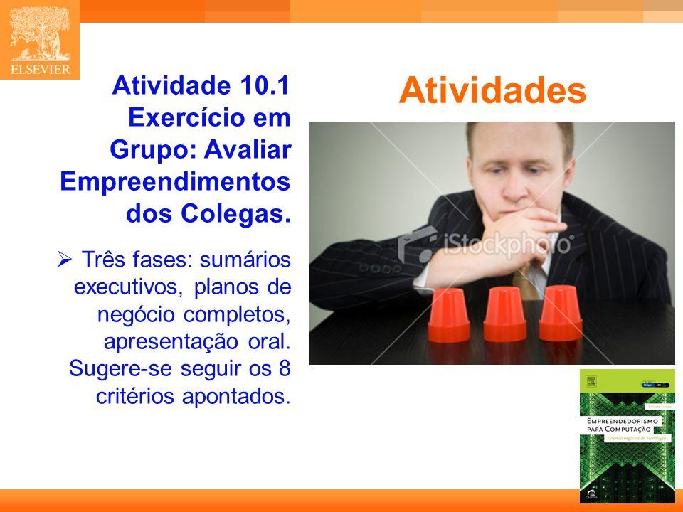 27 Capa Atividades Atividade 10.1 Exercício em Grupo: Avaliar Empreendimentos dos Colegas.