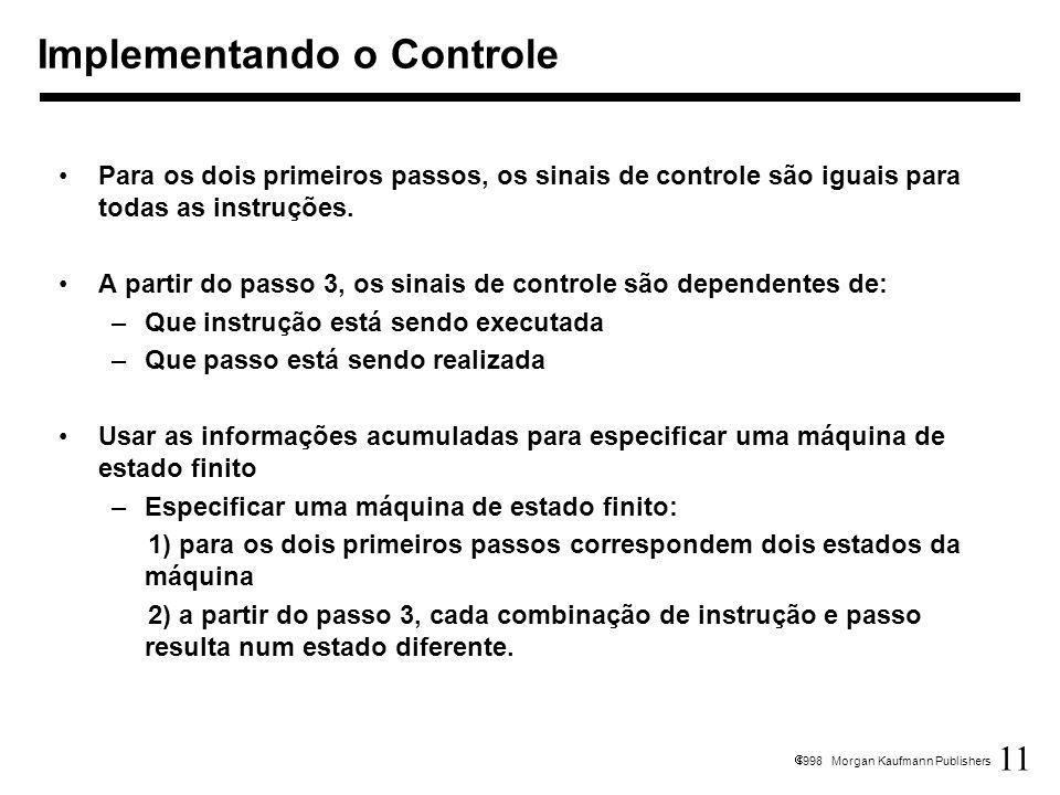 11 1998 Morgan Kaufmann Publishers Para os dois primeiros passos, os sinais de controle são iguais para todas as instruções. A partir do passo 3, os s