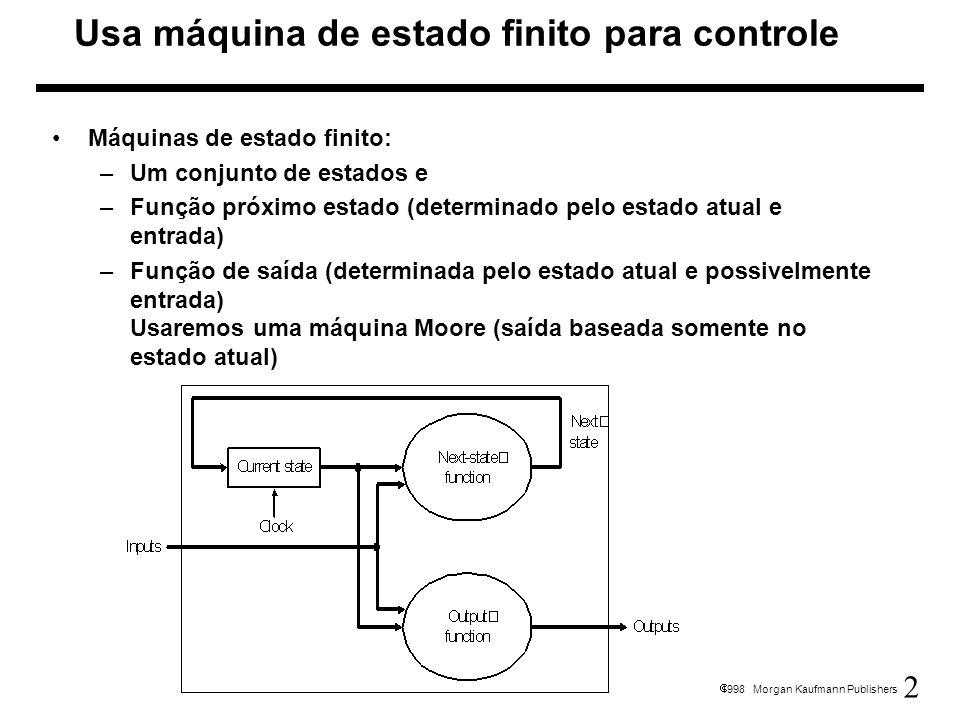 13 1998 Morgan Kaufmann Publishers Implementação: Máquina de estado finito para controle (controle hardwired, controle fixo)