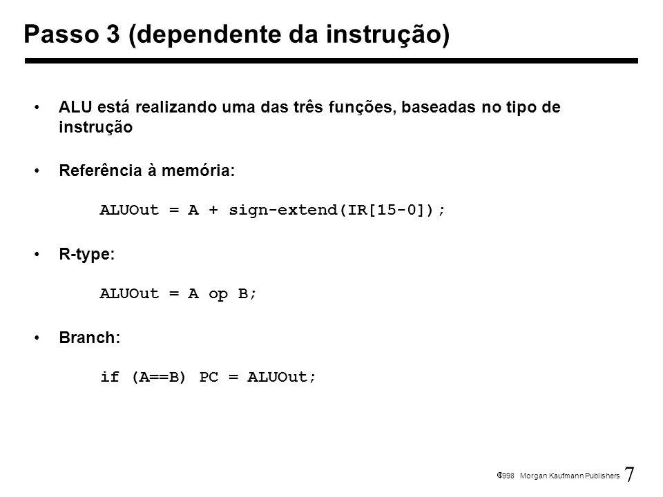 8 1998 Morgan Kaufmann Publishers Acesso à memória através de loads e stores MDR = Memory[ALUOut]; or Memory[ALUOut] = B; Fim das instruções R-type Reg[IR[15-11]] = ALUOut; A escrita é realizada no fim do ciclo, na borda Passo 4 (R-type ou acesso à memória)