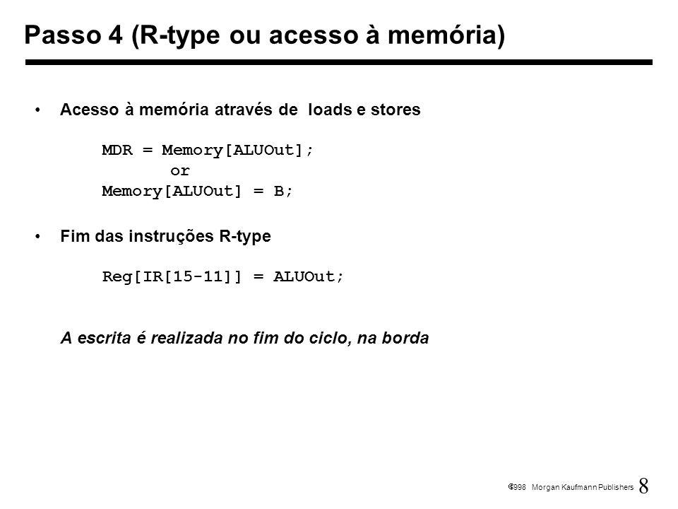 8 1998 Morgan Kaufmann Publishers Acesso à memória através de loads e stores MDR = Memory[ALUOut]; or Memory[ALUOut] = B; Fim das instruções R-type Re