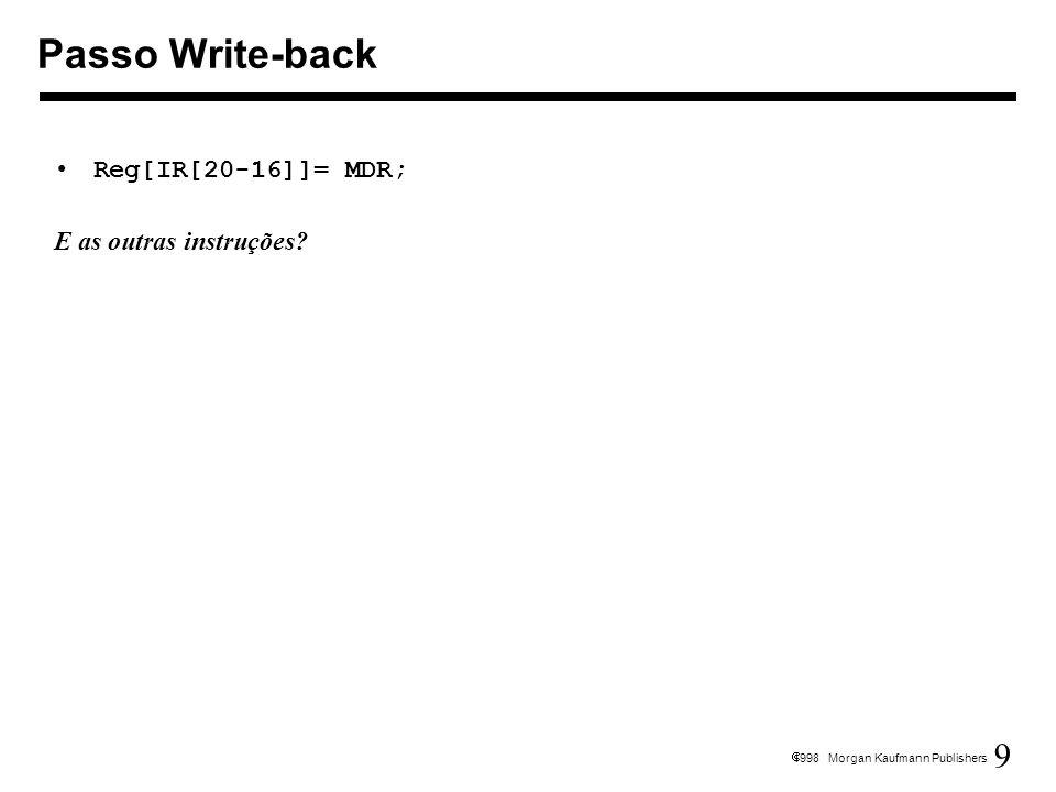 9 1998 Morgan Kaufmann Publishers Reg[IR[20-16]]= MDR; E as outras instruções? Passo Write-back