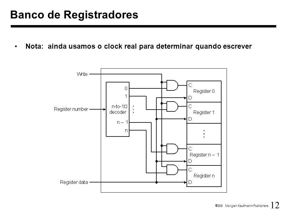 12 1998 Morgan Kaufmann Publishers Banco de Registradores Nota: ainda usamos o clock real para determinar quando escrever