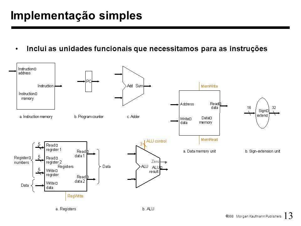 13 1998 Morgan Kaufmann Publishers Implementação simples Inclui as unidades funcionais que necessitamos para as instruções