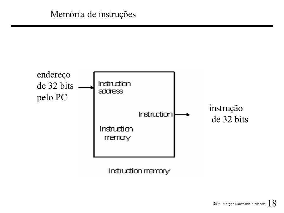 18 1998 Morgan Kaufmann Publishers Memória de instruções endereço de 32 bits pelo PC instrução de 32 bits