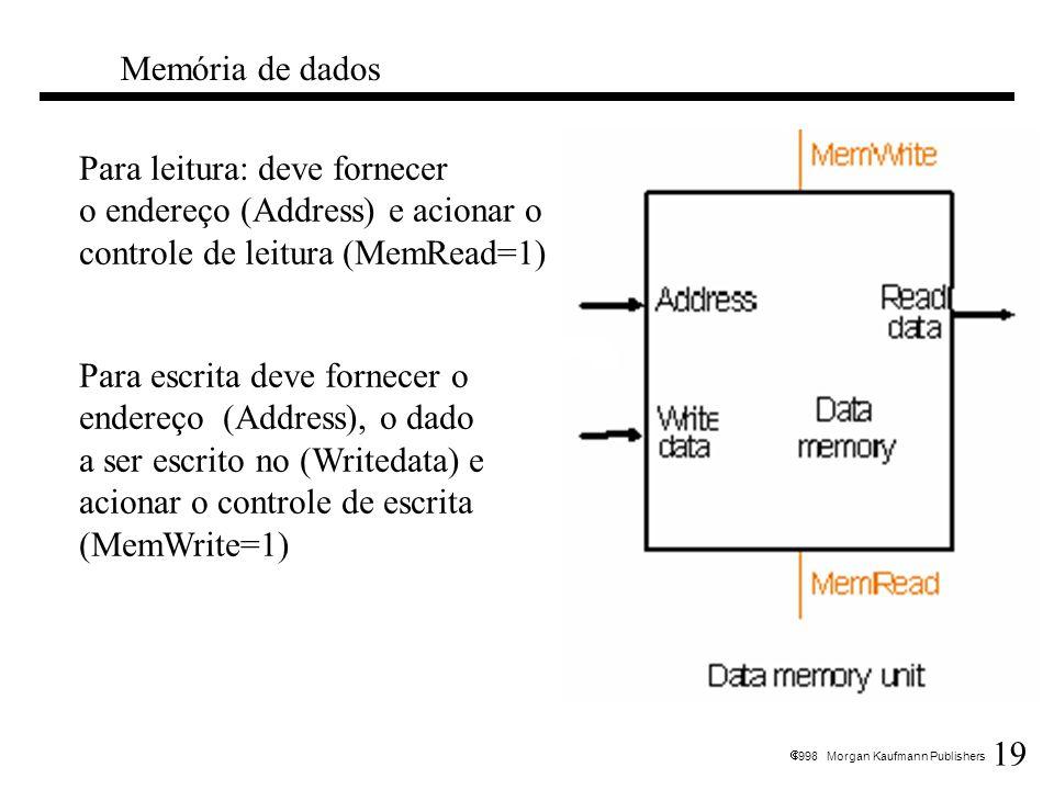 19 1998 Morgan Kaufmann Publishers Memória de dados Para leitura: deve fornecer o endereço (Address) e acionar o controle de leitura (MemRead=1) Para