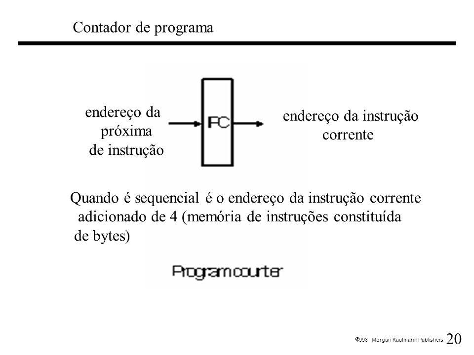 20 1998 Morgan Kaufmann Publishers Contador de programa endereço da próxima de instrução endereço da instrução corrente Quando é sequencial é o endere