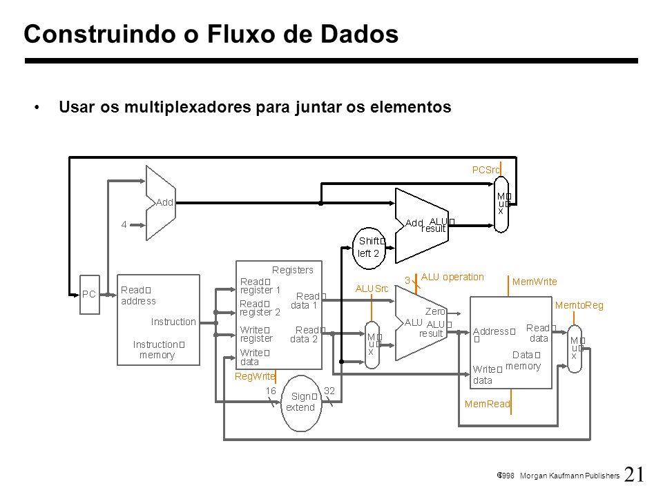 21 1998 Morgan Kaufmann Publishers Construindo o Fluxo de Dados Usar os multiplexadores para juntar os elementos